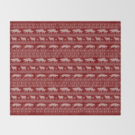 Ugly christmas sweater | Border collie red Throw Blanket
