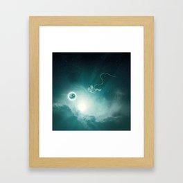 Astronaut Cast Away in Space Framed Art Print