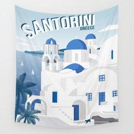 Vintage Santorini poster Wall Tapestry
