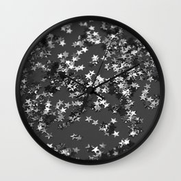 Gray Black Night Glitter Stars #1 #shiny #decor #art #society6 Wall Clock