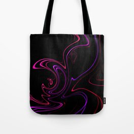 Abstract 345 Neon Swirls on Black Tote Bag