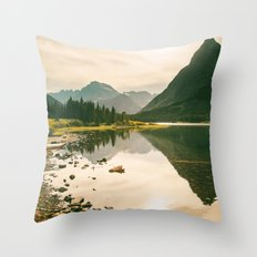Mountain Reflecting the Lake in Many Glacier  Throw Pillow