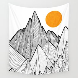 The waves and the mountains under the sun Wall Tapestry