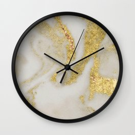 Marble - Swirled Shimmer Gold Marble Yellow on White Marble Wall Clock