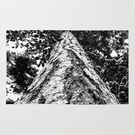 Squirrel View // Climbing Tall Tree Trunks // Winter Landscape Snowy Decor Photography Rug