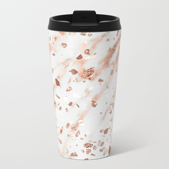 Pink Quartz Terrazzo + Rose Gold Marble Metal Travel Mug