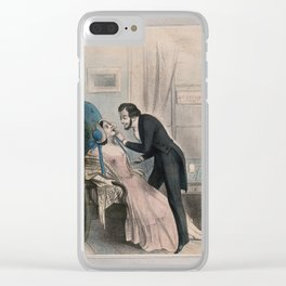 A dentist looking at a tooth of a very attractive female patient. Coloured lithograph. Clear iPhone Case