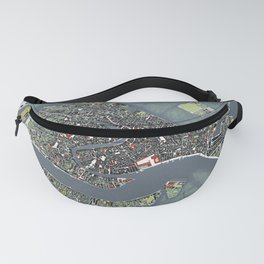 Venice city map engraving Fanny Pack