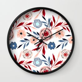 Pink and blue flowers. Wall Clock