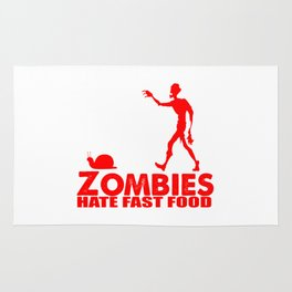 zombies eat fast food Rug
