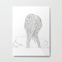 Woman with braids Metal Print