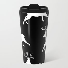 Woodland Deer Print in Black and White Travel Mug
