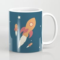 rocket Mugs featuring Rocket by Jane Mathieu
