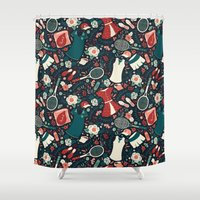 tennis Shower Curtains featuring Tennis Style by Anna Deegan