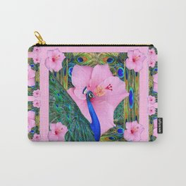 PINK HIBISCUS BLUE-GREEN PEACOCK PATTERNS ART Carry-All Pouch