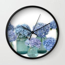 Hydrangeas Mason Jars Bottles Shabby Chic Cottage  Wall Clock