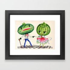 Kitschy Cute Watermelon Couple Framed Art Print