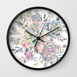 succulent watercolor 8 Wall Clock