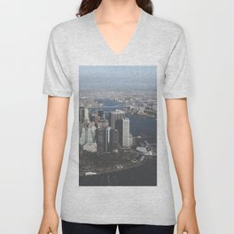 NYC Downtown Aerial Unisex V-Neck