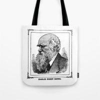 darwin Tote Bags featuring Charles Robert Darwin by Bramble & Posy