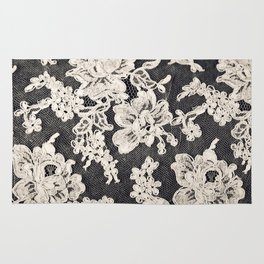 black and white lace- Photograph of vintage lace Rug