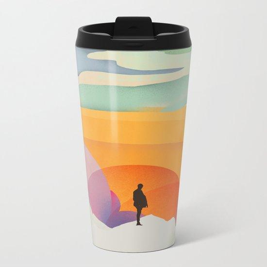 I Like to Watch the Sun Come Up - (White Version) Metal Travel Mug