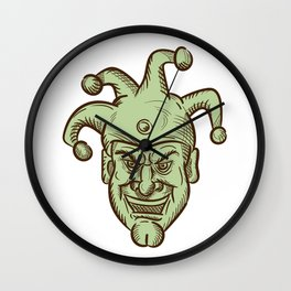 Demented Medieval Court Jester Drawing Wall Clock