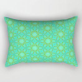 Teal and Green Star Flower Rectangular Pillow