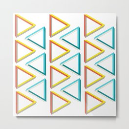 Impossible triangles geeky pattern. Metal Print