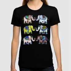 Elephant Collection – Cool Palette Black Womens Fitted Tee LARGE
