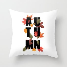 Autumn word and leaves BLACK Throw Pillow