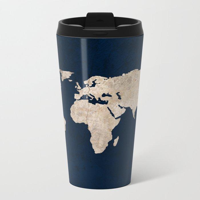 Inverted Rustic World Map Metal Travel Mug