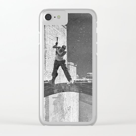 Old photo man of the bridge Clear iPhone Case