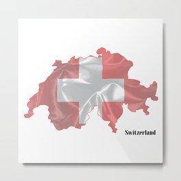 Switzerland Flag Map Metal Print