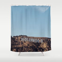 Vintage Retro Hollywood Sign Los Angeles California Colored Wall Art Print Shower Curtain