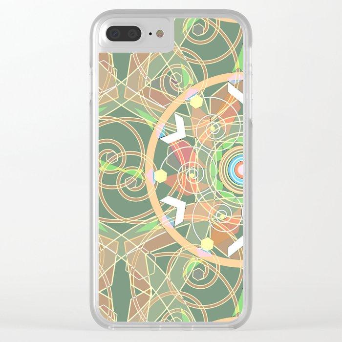 Oriental pattern, light orange-green background Clear iPhone Case