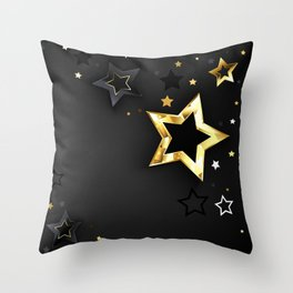Gray Background with Black Stars Throw Pillow