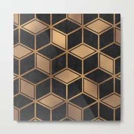 Charcoal and Gold - Geometric Textured Cube Design II Metal Print