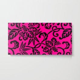 Hot Pink & Black Japanese Leaf Pattern Metal Print