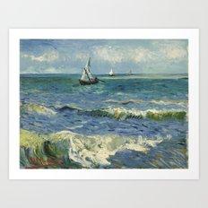 The Sea at Les Saintes-Maries-de-la-Mer by Vincent van Gogh Art Print