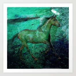 Green sea horse Art Print