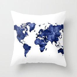 Dark navy blue watercolor world map Throw Pillow