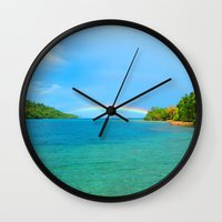 indonesia Wall Clocks featuring Rainbow in Indonesia by World Photos by Paola