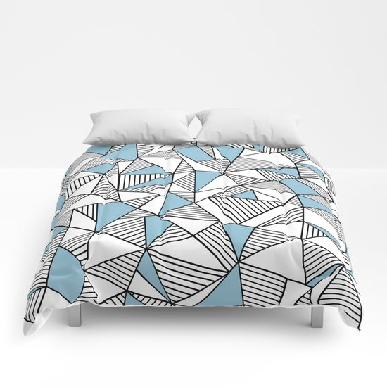 Abstraction Lines Sky Blue Comforters