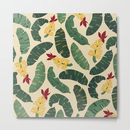 banana plant tropical seamless vector pattern Metal Print