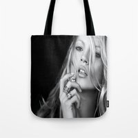 kate moss Tote Bags featuring KATE MOSS by I Love Decor