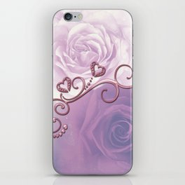 Beautiful violet roses with hearts iPhone Skin