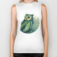 white Biker Tanks featuring Green Owl by Teagan White