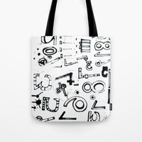typo Tote Bags featuring TYPO CHAOS by Michela Buttignol