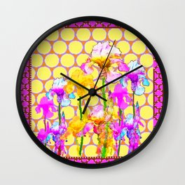FUCHSIA-YELLOW IRIS GARDEN DESIGNS Wall Clock